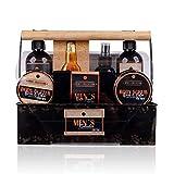Accentra Badeset Geschenkset für Männer, 7 Wellness- & Wohlfühlprodukte im würzigen Duft Birch & Cedar verpackt in einer Vintage Metall-Box im Shabby Chic