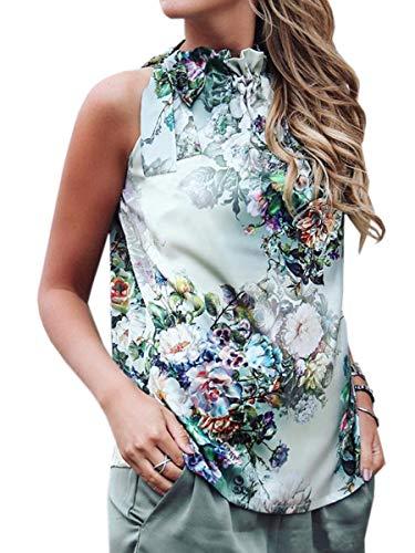 Spec4Y Damen Sommer Oberteile Ärmellos Top Schleife Shirt Print Casual Tanktops Blusen Grüne Blume XL -
