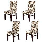 Fundas para sillas pack de 4 fundas sillas comedor fundas elásticas, cubiertas para sillas bielástico Extraíble funda duradera - Champagne marrón