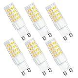 G9 LED Lampe, SHINE HAI® 6W G9 LED Birnen, Ersatz für 45W Halogen Lampen, globaler 360° Abstrahlwinkel Warmweiß 3000K AC220-240V 350lm CRI >80, 6er Pack