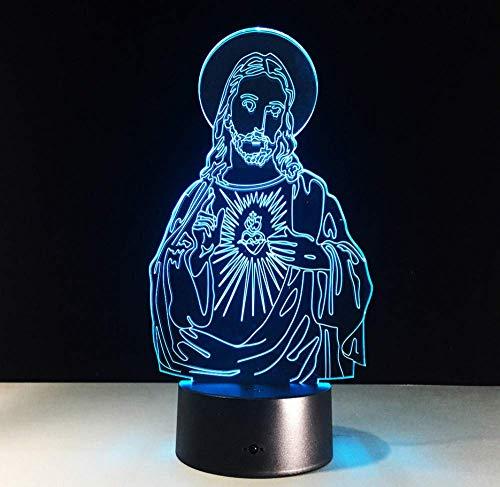 Jesus Modell 7 Farbe Led 3D Nachtlicht Optische Illusio Luminarias 3D Lampe Touch Remote Danksagungstag G Touch Schalter -