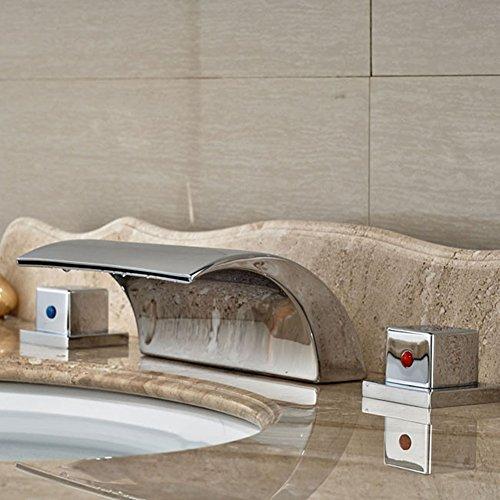 Dual Griff Wasserfall Badewanne Mischbatterie Set Deck Mount Badezimmer Badewanne Becken Waschbecken Wasserhahn Chrom-Finish von Mag.AL,G