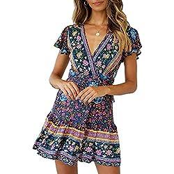 Abravo Mujer Vestido?Bohemio Corto Florales Nacional Verano Vestido Casual Magas Cortas Chic de Noche Playa Vacaciones,Azul Oscuro,XL