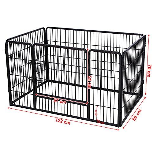 Songmics Welpenauslauf für Hunde Kaninchen kleine Haustiere 122 x 70 x 80 cm schwarz PPK74H - 3