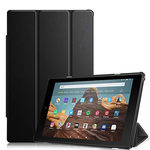 Fintie Hülle für Das Neue Amazon Fire HD 10 Tablet (9. und 7. Generation - 2019 und 2017) - Slim Cover Lightweight Schutzhülle Tasche mit Standfunktion und Auto Schlaf/Wach Funktion, Schwarz