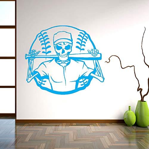 Dekorative aufkleber persönlichkeit schädel skelett baseball ball sport aufkleber wandbild wandaufkleber für schlafzimmer d 57 * 65 cm