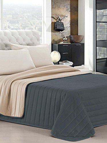 Italian bed linen elegant trapunta matrimoniale, 2 posti, grigio scuro/panna, 260 x 270 cm