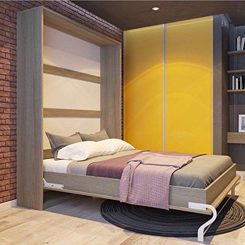 Schrankbett 140x200 cm vertikal Eiche Sonoma, ideal als Gästebett - Wandbett, Schrank mit integriertem Klappbett, SMARTBett