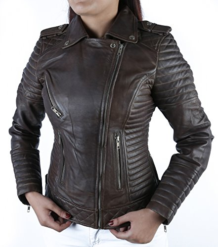 *Urban Leather Fashion Lederjacke -Michelle, Braun, Größe 42, XL*