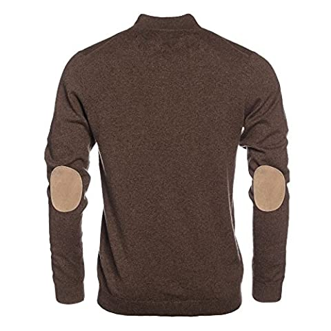 L. Bo Apparel, Cozy: Men's Elbow Patch Sweater Standing Collar, Brown Beige Cashmere Pullover with Zipper, L