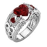 DAY.LIN Ringe Für Damen Ring Damen Der Herr Der Ringe Silber natürliche Rubin Edelsteine Birthstone Braut Hochzeit Engagement Herz Ring (Rot, 17mm)