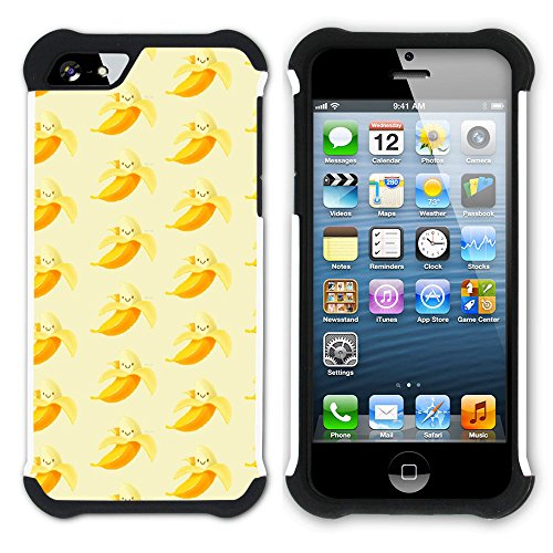 Graphic4You Banane Frucht Hart + Weiche Kratzfeste Hülle Case Schale Tasche Schutzhülle für Apple iPhone SE / 5 / 5S Design #13