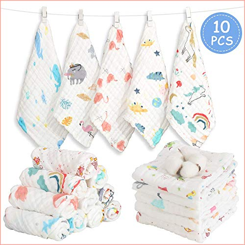 Caiery 10pcs Baby Musselin Waschlappen, Weiche Neugeborene Baby Gesichtstücher, Mehrzweck-natürliche Baumwolle Baby Wipes 30cm*30cm(Verschlüsselung / 6 Schichten)