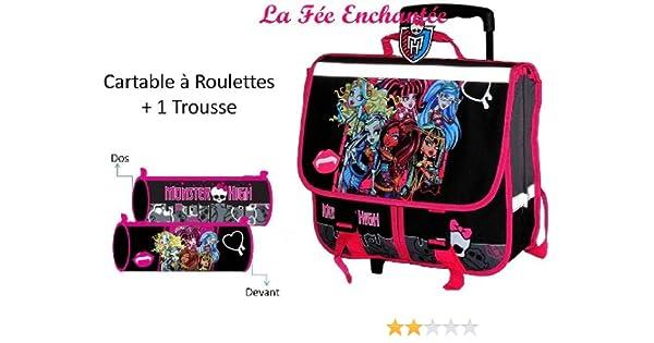 Monster high lot cartable a roulettes cm trousse