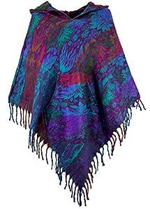 Guru-Shop Ethno, Hippie Poncho mit Langer Zipfelkapuze, Damen, Violett, Synthetisch, Size:40, Strickjacken, Ponchos Alternative Bekleidung