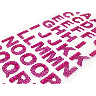 About Time Co Glitter Crystal Rhinestones Self Adhesive Alphabet Letter Sticker A-Z Words (Hot Pink)
