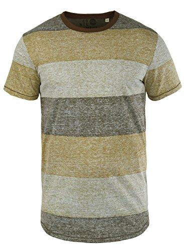 !Solid Teine Herren T-Shirt Kurzarm Shirt mit Streifen und Rundhalsausschnitt, Größe:M, Farbe:Coffee Bean (5973)