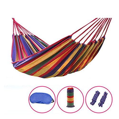 MMM& Outdoor Thicker Canvas Hammock Camping Dormroom Indoor Bedroom Student Swing Climbing Tourism Equipment (Couleur : Rouge, taille : 180 * 150cm)