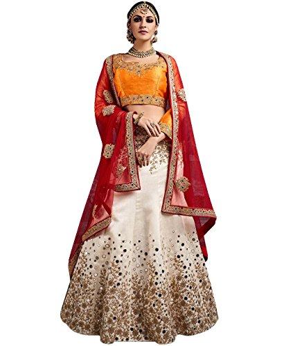 Indian Ethnicwear Bollywood Pakistani Wedding Cream A-Line Lehenga Semi-stitched