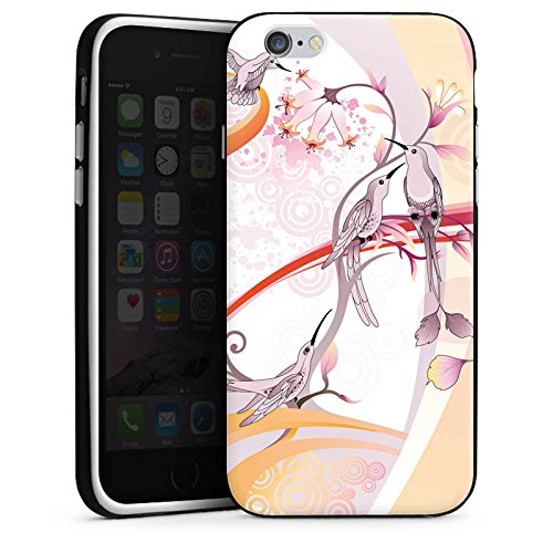 Apple iPhone 5s Housse Étui Protection Coque Oiseau Colibri Fleurs Housse en silicone noir / blanc