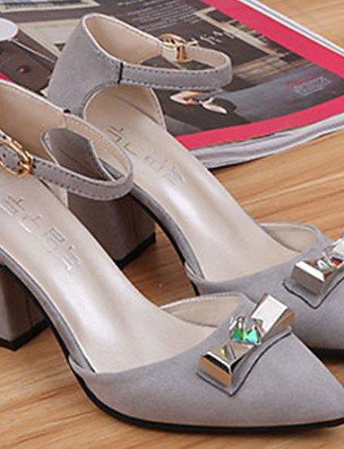 WSS 2016 Chaussures Femme-Habillé / Décontracté-Noir / Gris-Talon Bas-Bout Carré-Sabots & Mules-Daim black-us8 / eu39 / uk6 / cn39