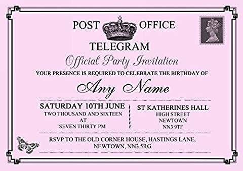 Vintage Telegram Elegant Pink Personalised Birthday Party Invitations