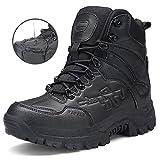 Stiefel Herren Wanderschuhe Damen Trekkingschuhe Armee Combat Tactical Boots Verschleißfest Rutschfeste Outdoor Einsatzstiefel Für Maenner Frauen, Schwarz01, 42 EU (Herstellergröße: 43 CN)
