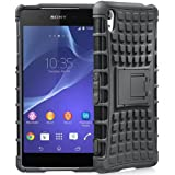 MACC Defender Series Dual Layer Hybrid TPU + PC Kickstand Case Cover for Sony Xperia Z2 - Black