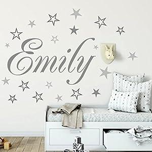 Wandschnörkel® Wandtattoo Namen HM~AA120 Kindernamen +20 teiliges Sterne Kinderzimmer Türschild Baby Mädchen Jungen personalisiert Grau Mix Set oder andere Farben