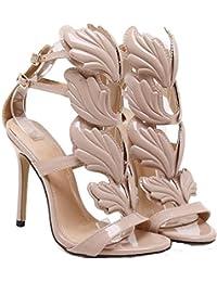 4FSGLOBAL Women High Heels Gold Winged Leaves Stiletto Gladiator Party Shoe Composite Leather Wedding Shoe First Lady Elegant High Heel Shoe (3 UK/EUR 35, Khaki)