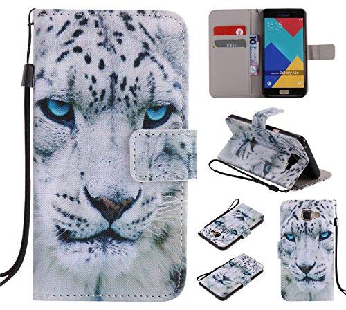 Nancen Samsung Galaxy A5 2016 / SM-A510F (5,2 Zoll) Hülle/Handyhülle, Painted Tier PU Leder Tasche Schutzhülle Case Lederhülle Flip Cover mit Standfunktion [Weiß Leopard]