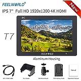 Feelworld T7 Caméra Monitor 7' 4K HDMI Ultra HD 1920x1200 Champ Vidéo LCD IPS écran 1200:1 Contraste élevé pour CAM Steady, DSLR Rig, Kit Caméscope, Stabilisateur de Poche