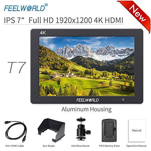"Feelworld T7 Kamera Monitor 7"" 4K HDMI Ultra HD 1920x1200 Field Video LCD IPS Bildschirm 1200:1 Hohes Kontrast für Camera, Steady Cam, DSLR Rig, Camcorder Kit, Handheld Stabilisator"
