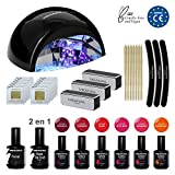 Kit Semipermanente Unghie Professionale - Smalto Semipermanente 6 COLORI UV Gel Polish Fornetto Unghie Led UV Primer Unghie e Base Top Coat Semipermanente - Begin Diamond Edition - Norme CE Europee - MEANAIL
