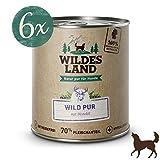 Wildes Land | Nassfutter für Hunde | Wild PUR | 6 x 800 g | mit Distelöl | Getreidefrei & Hypoallergen | Extra hoher Fleischanteil von 70% | Beste Akzeptanz und Verträglichkeit