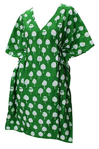 LA LEELA 100% Reiner Leichter Baumwolle tiefer Ausschnitt Plus Größe dehnbar Kurze 5 in 1 Abend Lounge hinreißenden Kleid Strand vertuschen Ferien Kaftan beiläufige Oberseite grün - Baumwolle Plus Größe Vertuschen
