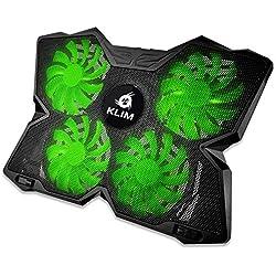 KLIMTM Wind - Refroidisseur Ordinateur Portable + Le Plus Puissant + Refroidissement Ultra Rapide + 4 Ventilateurs Silencieux + Refroidisseur PC Portable PS4 Xbox - Version 2020 - Vert