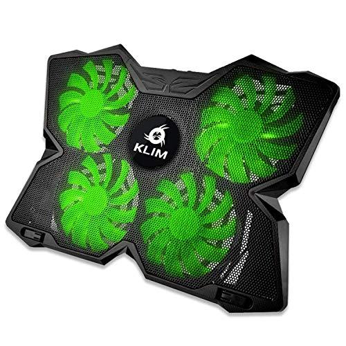 KLIM Wind Laptop Kühler - Leistungsstark Wie Kein Anderer - Schneller Kühlvorgang - 4 Lüfter PC Notebook PS4 - Belüfteter Laptop Ständer, Gamer Gaming Stützhalterung - 2020 Version - Grün -