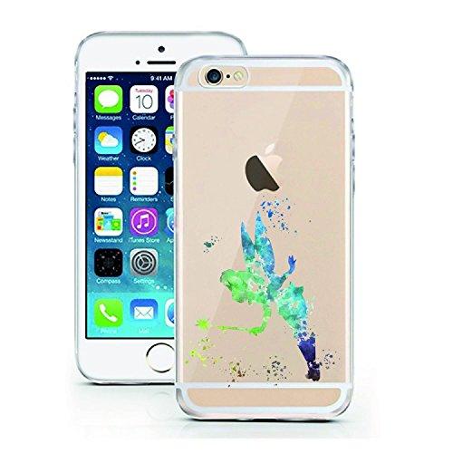 Blitz® ADORE Schutz Hülle Transparent TPU Cartoon Comic Case iPhone Bambi iPhone 6 6s Tinker bell Aquarell