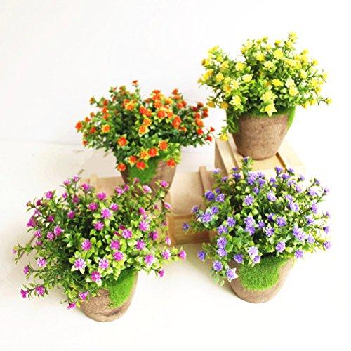 WINOMO Künstliche Pflanzen Simulierte Pflanze Dekorative Bonsai Plastik Blume für Zuhause Dekoration (Orange)
