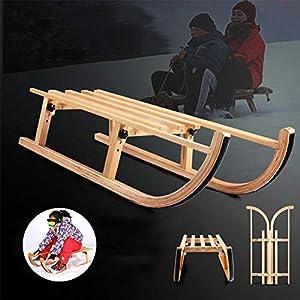 ZQQ Rodelschlitten, Wood Sled Folding Snow Wood Sled Rodelschlitten Mit Massivholzsitz Für Kinder Kleinkinder