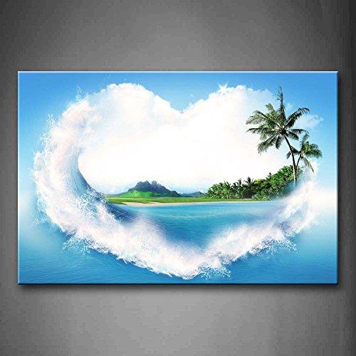 Leisure Island en font de peinture d'art de Wave Mur de cœur photos sur toile de lin Paysage la photo pour la maison moderne Décoratio