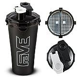 2 in 1 Dual Shaker | Eiweiß Shaker für Sport mit 700ml (2x350ml) Fassungsvermögen | Protein Shaker | schwarz | FAVE Dual Shaker