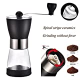 Hand Crank Manual Coffee Grinder Mill with Professional Grade Conical Ceramic Burr?Suliko Hand Ground Coffee Beans Taste Best?Adjustable Coarseness Screw?Precision Brewing with 1 Glass Containers