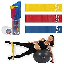 POWRX Fitnessbänder 3er SET inkl. praktischer Aufbewahrungsbox / 1,5 m (Leicht, Mittel, Stark) aus Latex / Gymnastik-Bänder für Yoga, Pilates, Reha und Physio | Resistance-/Widerstands-/Übungs-Band