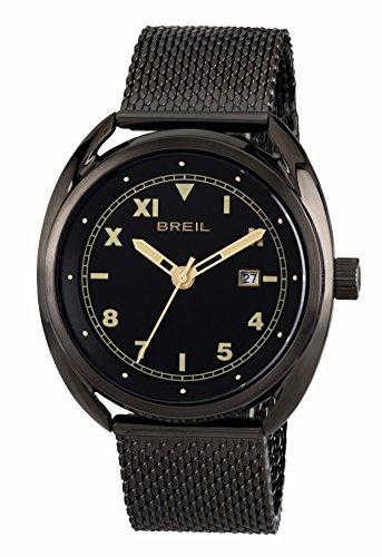 BREIL TW1671 - Reloj de Pulsera para Hombre con Esfera Negra de 3 manecillas y Mecanismo de Cuarzo y Correa de Acero