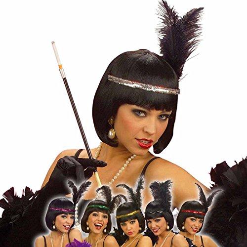 Pailletten Flapper Stirnband (Charleston Stirnband silberner 20er Jahre Feder Kopfschmuck silber Flapper Pailletten Haarband Federkopfschmuck Gatsby Can Can Girl Burlesque Haarschmuck Fasching Vintage Kopfband Damen Retro Mottoparty Accessoire Karneval Kostüm)