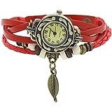 Sanwood Women's Bracelet Tree leaf Decoration Quartz Wrist Watch Red