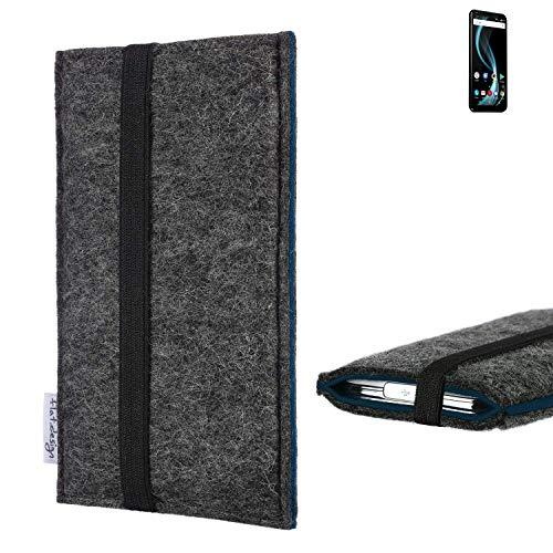 flat.design Handyhülle Lagoa für Allview X4 Soul Infinity Plus | Farbe: anthrazit/blau | Smartphone-Tasche aus Filz | Handy Schutzhülle| Handytasche Made in Germany