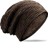 Grin&Bear Long Slouch Beanie Grobstrick Teddyfleece dunkelbraun M10